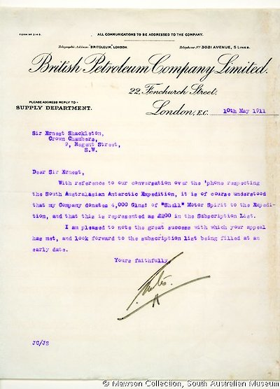 British Petroleum's offer to donate Shell Motor Spirit to Mawson's Expedition