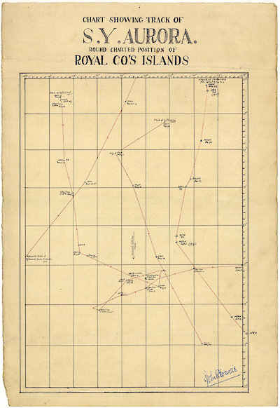 Chart of the Aurora's track around charted positions of Royal Co's Islands