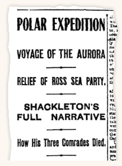 Newspaper report about the Aurora voyage