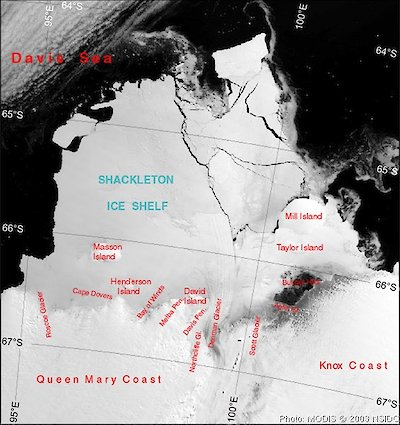 MODIS satellite image of Shackleton Ice Shelf
