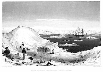 Depiction of Wilkes' crew collecting water on a large iceberg