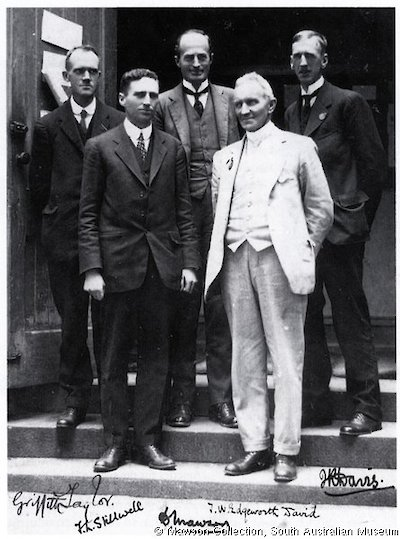 Mawson with Griffith Taylor, Frank Stillwell, Edgeworth David and J.K. Davis