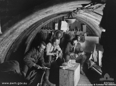 An interior view of the dugout occupied by officers of the 105th Howitzer Battery